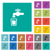 Drinking water multi colored flat icons on plain square backgrounds. Included white and darker icon variations for hover or active effects. - Drinking water square flat multi colored icons