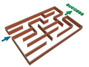 Vector grahic of a maze that leads to success - 3d maze success concept
