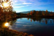 A mountain lake in the autumn sunrise - Mountain lake