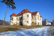 An old, crumbling manor house in the winter countyside - Old manor house in the country