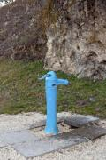 A typical street fountain in a park - Blue street fountain