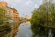 The view of Oradea with water reflection - The view of Oradea in Romania