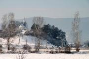 Winter landscape with trees and a church - Winter landscape