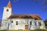 Closeup of a church with clear blue sky - Traditional white church