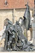 Closeup of two minor characters of the statue in Cluj-Napoca, Romania - Detail of the statue of king Matthias Corvinus