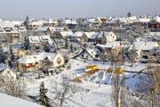 View of a city in winter time - View of a city