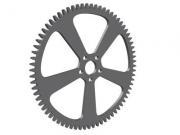 A gray shiny cogwheel with boreholes on white background - Grey cogwheel