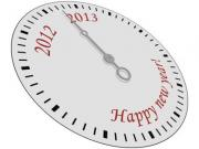 New year greeting card with a clock face - Happy new year 2013