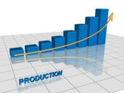 Vector graphic of a graph showing the increase of production - Production graph