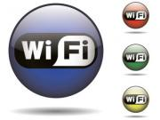 Glossy sphere icon set of a black and white wi-fi logo. Vector saved in EPS10. - Sphere icon set - rounded wi-fi logo