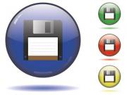 Glossy sphere icon set of the symbol saving. Vector saved in EPS10. - Sphere icon set - save button