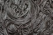 Black spaghetti from close view. - Strange black pattern