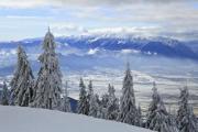 King's Stone in the Southern Carpathians, Romania. Ski and hiking paradise - Winter paradise