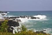 White water over black rocks on Comorros island - Waves on Comorros island