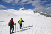 Hiking in winter with ski poles  - Two winter hikers