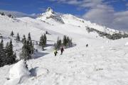 Hikers on a mountain in winter - Winter hiking