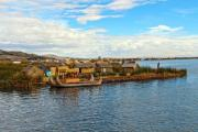 Traditional sedge boat at a floating island on lake Titicaca - Sedge boat