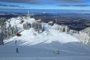 View of a ski resort with skiers - Ski resort