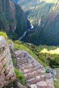 Great view from Macchu Picchu down to the canyon - Stairs on the Macchu Picchu