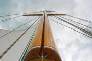Classic yacht's wooden mast with groove - Classic yacht