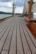 On the deck of an oldtimer sailing yacht - Wooden sailing yacht