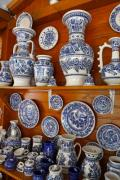 A gift shop in Corund, in Transylvania, Romania with typical blue and white patterned pots - Pottery from Corund