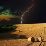 Beautiful combination of summer and thunderstorms. Part of an amazing lightning strike series from Hungarian and Romanian fields. Part one. - Lightning in the fields
