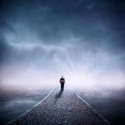 A man walking into the light, to eternity. A digital photo montage. - Way to Eternity