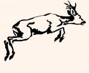 Leaping roebuck. Calligraphic brush drawing. Design for logo, t-shirt, bag, tattoo, illustration etc. - Leaping roebuck