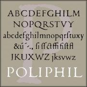 Classic font of the Venetian typographer, in its original, worn form. Renaissance period.   Including ligatures and supplemented with characters which was not used in that age.  - 'Poliphil' font