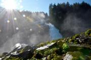 Hiking at the Krimml waterfall in Austria. - waterfall