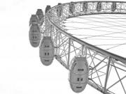 A part of The London Eye in black and white.  - The London Eye