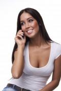 Beautiful young brunette phoning woman - Phoning woman