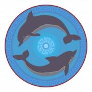 Rosette with two dolphins. Minoan style. - Rosette with two dolphins No. 2.