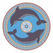 Rosette with two dolphins. Minoan style. - Rosette with two dolphins No. 1.