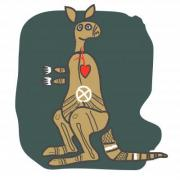 Kangaroo, cartoon figure. Design for t shirt, logo, bag, postcard, poster, illustration etc. - Kangaroo, cartoon figure