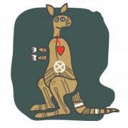 Kangaroo, cartoon figure. Design for t shirt, logo, bag, postcard, poster, illustration etc. - Kangaroo, cartoon figure