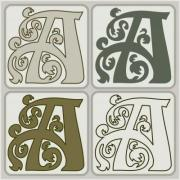 'A' initial. Art Nouveau style letter design for initials, logo, monogram. - 'A' initial