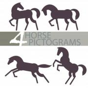 Four horse pictograms which can be used as a logo, illustration, graphic elements etc.  - Horse Pictograms