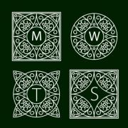 Ornate frames for monograms or other symbols in arabesque style. The letters are replaceable. - Ornate Monogram Frames