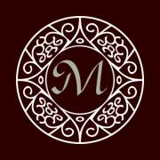 Ornate frame for monogram, logo or other symbol in arabesque style. The letter 'M' is replaceable.  - Ornate Monogram Frame 'M'