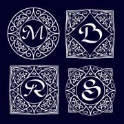 Ornate frames for monograms, logos or other symbols in arabesque style. The letters are replaceable. - Ornate Monogram Frames