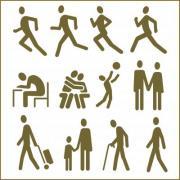 Human figures, 12 pictograms. Monochrome flat vector design. - People, Pictograms