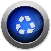 Blue glossy recycle web button - Recycle button
