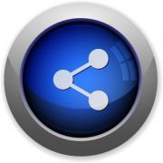 Blue glossy share web button - Share button