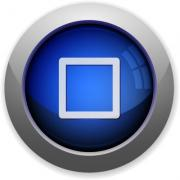 Blue glossy media stop web button - Media stop button