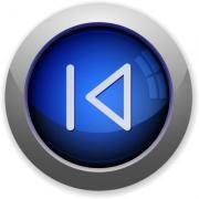 Blue glossy media previous web button - Media prev button