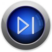 Blue glossy media next web button - Media next button