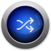 Blue glossy media shuffle web button - Media shuffle button
