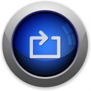 Blue glossy media loop web button - Media loop button